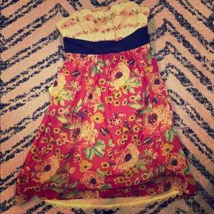 Strapless Anthropologie Floral Dress